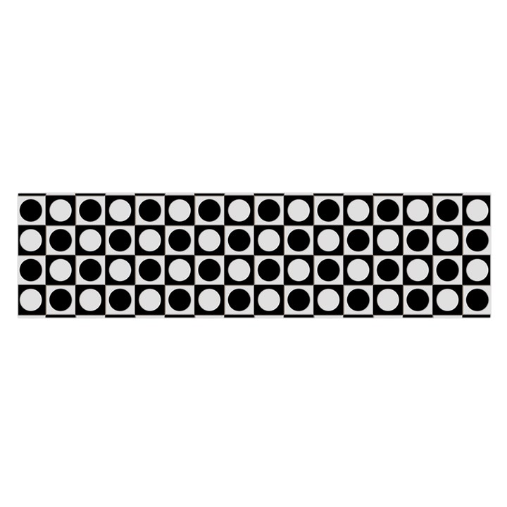 Modern Dots In Squares Mosaic Black White Satin Scarf (Oblong)
