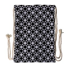Modern Dots In Squares Mosaic Black White Drawstring Bag (Large)