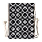Modern Dots In Squares Mosaic Black White Drawstring Bag (Large) Front