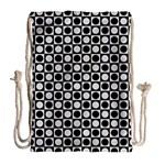 Modern Dots In Squares Mosaic Black White Drawstring Bag (Large) Back