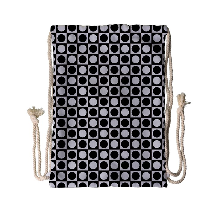 Modern Dots In Squares Mosaic Black White Drawstring Bag (Small)