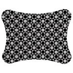 Modern Dots In Squares Mosaic Black White Jigsaw Puzzle Photo Stand (Bow) Front