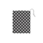 Modern Dots In Squares Mosaic Black White Drawstring Pouches (XS)  Front
