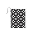 Modern Dots In Squares Mosaic Black White Drawstring Pouches (XS)  Back