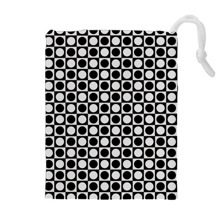 Modern Dots In Squares Mosaic Black White Drawstring Pouches (Extra Large)
