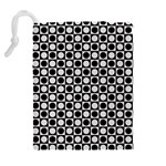 Modern Dots In Squares Mosaic Black White Drawstring Pouches (Extra Large) Back