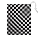 Modern Dots In Squares Mosaic Black White Drawstring Pouches (XXL) Front