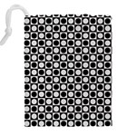 Modern Dots In Squares Mosaic Black White Drawstring Pouches (XXL) Back