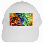 Abstract Fractal Batik Art Green Blue Brown White Cap Front