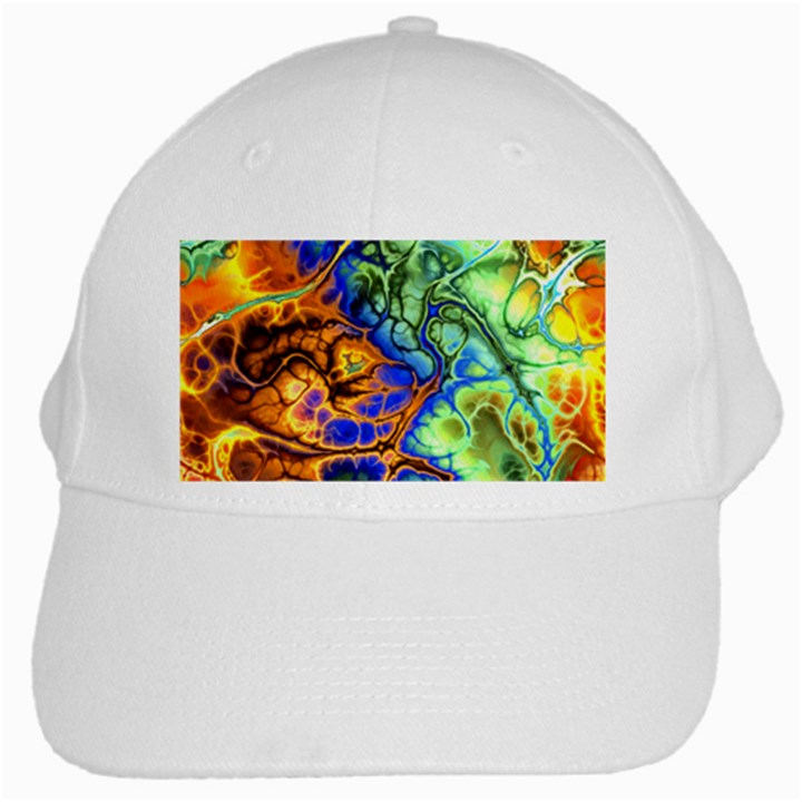 Abstract Fractal Batik Art Green Blue Brown White Cap