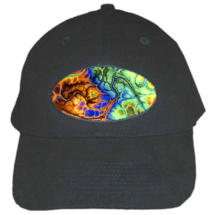 Abstract Fractal Batik Art Green Blue Brown Black Cap
