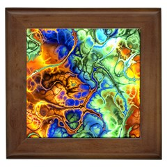 Abstract Fractal Batik Art Green Blue Brown Framed Tiles