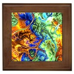 Abstract Fractal Batik Art Green Blue Brown Framed Tiles Front