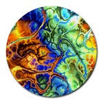 Abstract Fractal Batik Art Green Blue Brown Round Mousepads Front