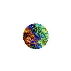 Abstract Fractal Batik Art Green Blue Brown 1  Mini Buttons