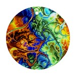 Abstract Fractal Batik Art Green Blue Brown Ornament (Round)  Front