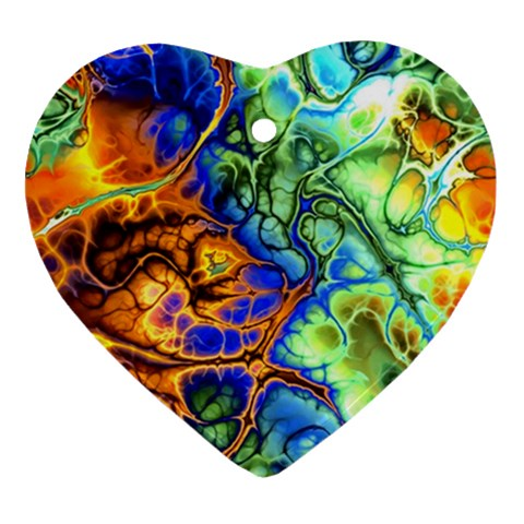 Abstract Fractal Batik Art Green Blue Brown Ornament (Heart)
