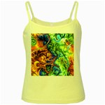 Abstract Fractal Batik Art Green Blue Brown Yellow Spaghetti Tank Front