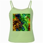 Abstract Fractal Batik Art Green Blue Brown Green Spaghetti Tank Front