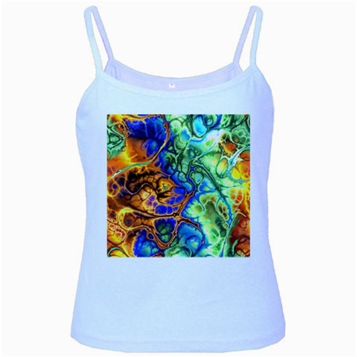 Abstract Fractal Batik Art Green Blue Brown Baby Blue Spaghetti Tank