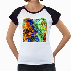 Abstract Fractal Batik Art Green Blue Brown Women s Cap Sleeve T