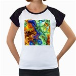 Abstract Fractal Batik Art Green Blue Brown Women s Cap Sleeve T Front