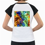 Abstract Fractal Batik Art Green Blue Brown Women s Cap Sleeve T Back