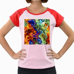 Abstract Fractal Batik Art Green Blue Brown Women s Cap Sleeve T-Shirt