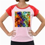 Abstract Fractal Batik Art Green Blue Brown Women s Cap Sleeve T-Shirt Front