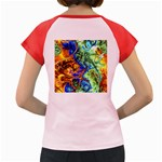 Abstract Fractal Batik Art Green Blue Brown Women s Cap Sleeve T-Shirt Back
