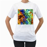 Abstract Fractal Batik Art Green Blue Brown Women s T-Shirt (White) (Two Sided) Front