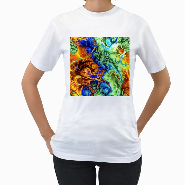 Abstract Fractal Batik Art Green Blue Brown Women s T-Shirt (White) (Two Sided)