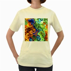 Abstract Fractal Batik Art Green Blue Brown Women s Yellow T Shirt