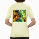 Abstract Fractal Batik Art Green Blue Brown Women s Yellow T-Shirt Back