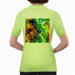 Abstract Fractal Batik Art Green Blue Brown Women s Green T-Shirt Back