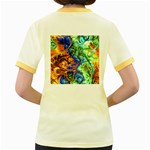 Abstract Fractal Batik Art Green Blue Brown Women s Fitted Ringer T-Shirts Back
