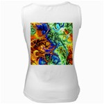 Abstract Fractal Batik Art Green Blue Brown Women s White Tank Top Back