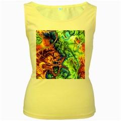Abstract Fractal Batik Art Green Blue Brown Women s Yellow Tank Top