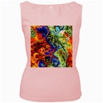 Abstract Fractal Batik Art Green Blue Brown Women s Pink Tank Top Front