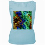 Abstract Fractal Batik Art Green Blue Brown Women s Baby Blue Tank Top Front