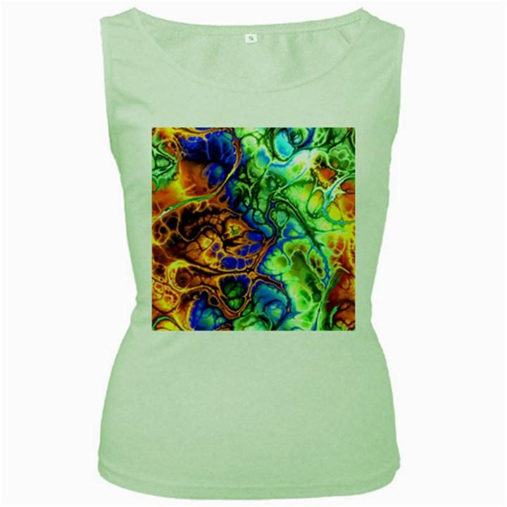 Abstract Fractal Batik Art Green Blue Brown Women s Green Tank Top