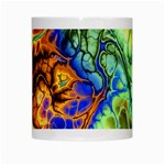 Abstract Fractal Batik Art Green Blue Brown White Mugs Center