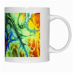 Abstract Fractal Batik Art Green Blue Brown White Mugs Right