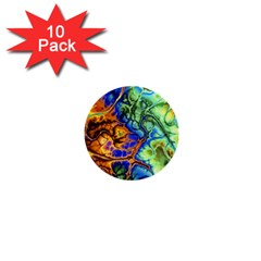 Abstract Fractal Batik Art Green Blue Brown 1  Mini Buttons (10 pack)