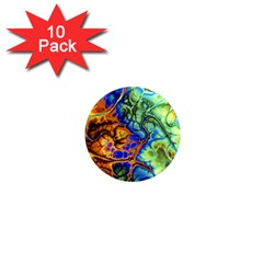 Abstract Fractal Batik Art Green Blue Brown 1  Mini Magnet (10 pack)
