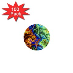 Abstract Fractal Batik Art Green Blue Brown 1  Mini Buttons (100 pack)
