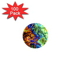 Abstract Fractal Batik Art Green Blue Brown 1  Mini Magnets (100 pack)