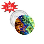 Abstract Fractal Batik Art Green Blue Brown 1.75  Buttons (10 pack) Front