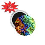Abstract Fractal Batik Art Green Blue Brown 1.75  Magnets (10 pack)  Front