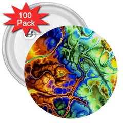 Abstract Fractal Batik Art Green Blue Brown 3  Buttons (100 Pack)